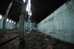 room of an abandoned factory destroyed Stock Photography