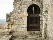 Room added to a monastery. Exterior added to a medieval church stock photos
