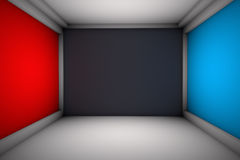 Room with Advertising Walls. Room with red and blue opposite walls.Black front wall.Gradient everywhere except front wall Stock Photo