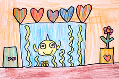 Room with aquarium - crayon drawing Stock Image