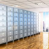 Room with archives. 3d illustration Royalty Free Stock Image