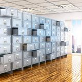 Room with archives. 3d illustration Stock Photography