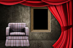 Room with armchair, curtains and frame Stock Photography