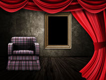 Room with armchair, curtains and frame Stock Image