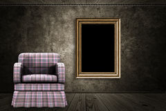 Room with armchair and wood frame Stock Images