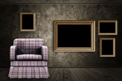 Room with armchair and wood frame Stock Photos