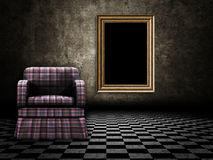 Room with armchair and wood frame Royalty Free Stock Image