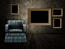 Room with armchair and wood frame Royalty Free Stock Photo