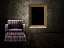 Room with armchair and wood frame Stock Photography