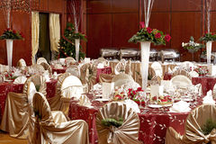 Room arrangement. A luxury room arrangement ready for a party stock images