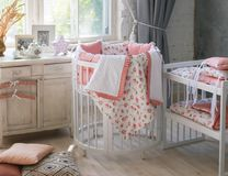 Room for baby, baby round crib stock photography