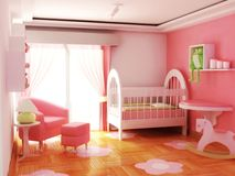 Room Baby Girl. Bedroom pink of a Baby girl room Toys Stock Photography