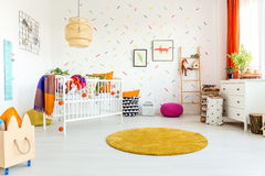 Room for the baby. White spacious room designed for a little baby Royalty Free Stock Photos