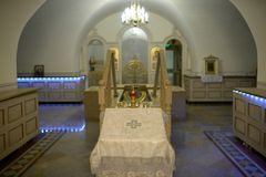 Room for baptism inside Holy Trinity Alexander Nevsky Lavra, church in Saint Petersburg, Russia Stock Images