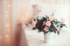 Room is beautifully decorated with colorful flowers Royalty Free Stock Image