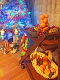 Room decorated for the New year stock image