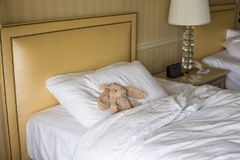 Room with bed and plush toy Royalty Free Stock Photos