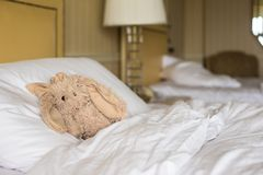 Room with bed and plush toy Stock Photos