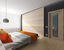 Room with a bed and wardrobe Stock Photos