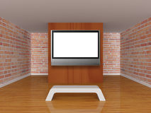 Room with bench and lcd tv Royalty Free Stock Photos