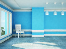 A  room with a big window, a chair and three chandeliers Royalty Free Stock Photos