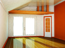 Room with a big window and the door Royalty Free Stock Photography
