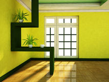 A room with a big window and the plants Royalty Free Stock Image