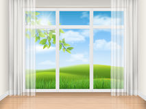 Room with big window and summer landscape Stock Photos
