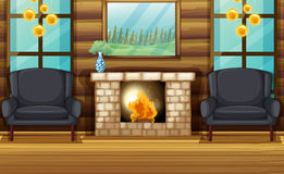 Room with black armchairs and fireplace. Illustration Stock Photos