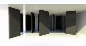 Room with black partition, abstract architecture. 3d illustration Stock Photography