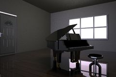 Room with black piano and window Stock Photos