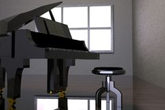Room with black piano and window Stock Photography