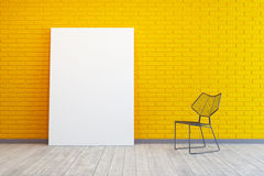 Room with blank picture and chair Stock Photo