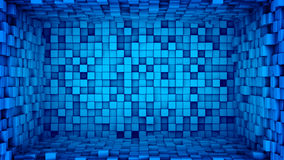 Room of blue cubes extruded. Abstract 3D render Stock Photography