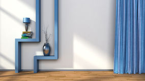 Room with blue curtains and shelf with lamp. 3D illustration Royalty Free Stock Photo
