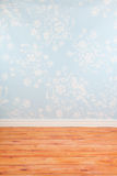 Room with blue vintage wall paper Stock Photo