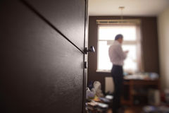 Room with blurred figure of a man Royalty Free Stock Photography
