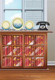 Room with bookshelves and vintage telephone. Illustration vector illustration