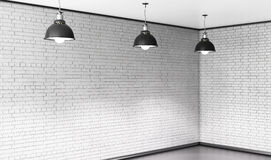 Room of brick with three ceiling lights. 3d. Stock Images
