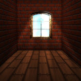 Room with brick wall with window Royalty Free Stock Photography