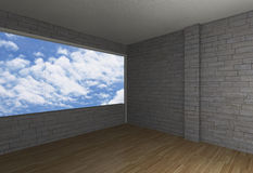 Room with brick wall and wood floor Royalty Free Stock Images