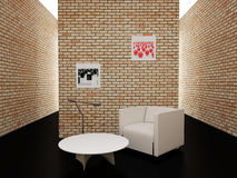 Room with brick walls Royalty Free Stock Photos