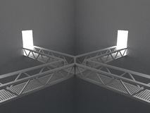 Room with bridges. 3d rendering illustration of a room with metal bridges Stock Photos