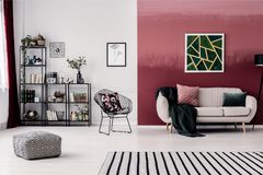 Room with burgundy wall stock images