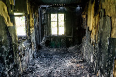 Room in burned down building Stock Image