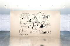 Room with business charts. New room interior with business charts and diagrams on brown wall. 3D Rendering Royalty Free Stock Photos