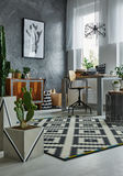 Room with cactuses. Functional room interior with cactuses and desk stock images