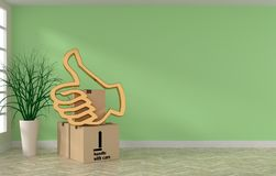 Room with cardboard boxes and golden thumb up. Bright room with three cardboard boxes and golden thumb up icon, moving or new home concept, 3d rendering Royalty Free Stock Photos