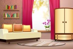 Room Cartoon Interior Illustration. Room cartoon interior with sofa wardrobe curtains and books  vector illustration Stock Image