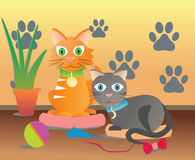 Room cats cats Drawing von character Stock Photo